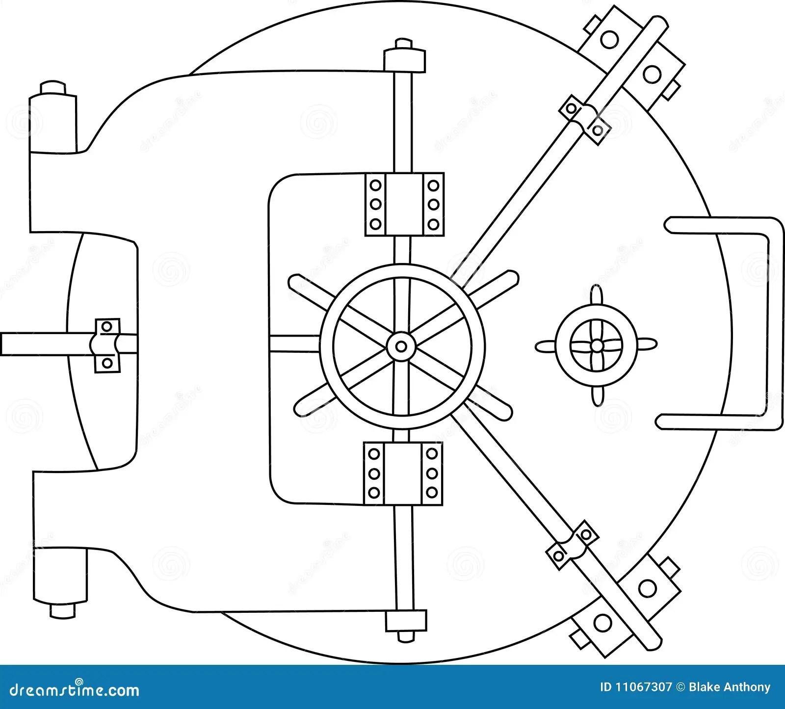 Bank Vault Black White Stock Vector Illustration Of