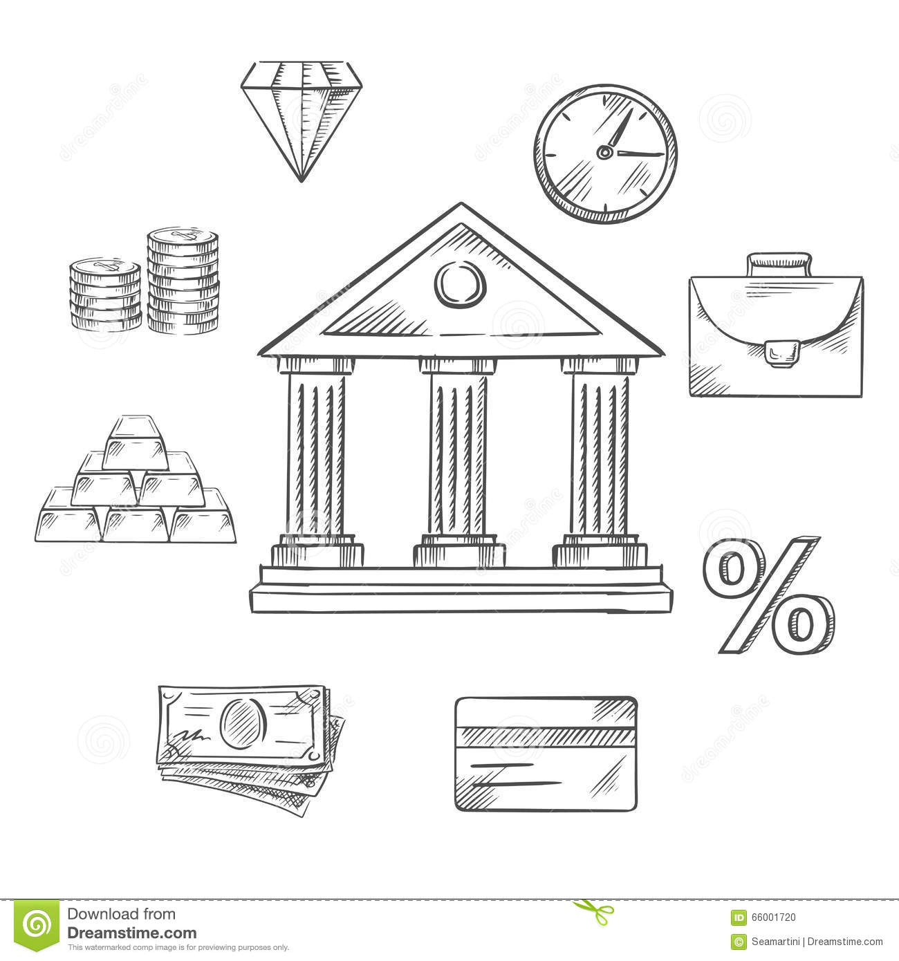 Banking Infographic Elements In Sketch Style Stock Vector