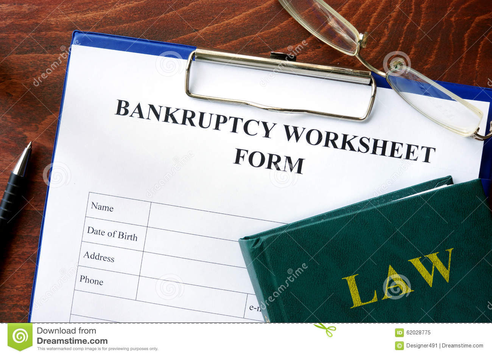 Bankruptcy Worksheet Form Stock Image Image Of Finance