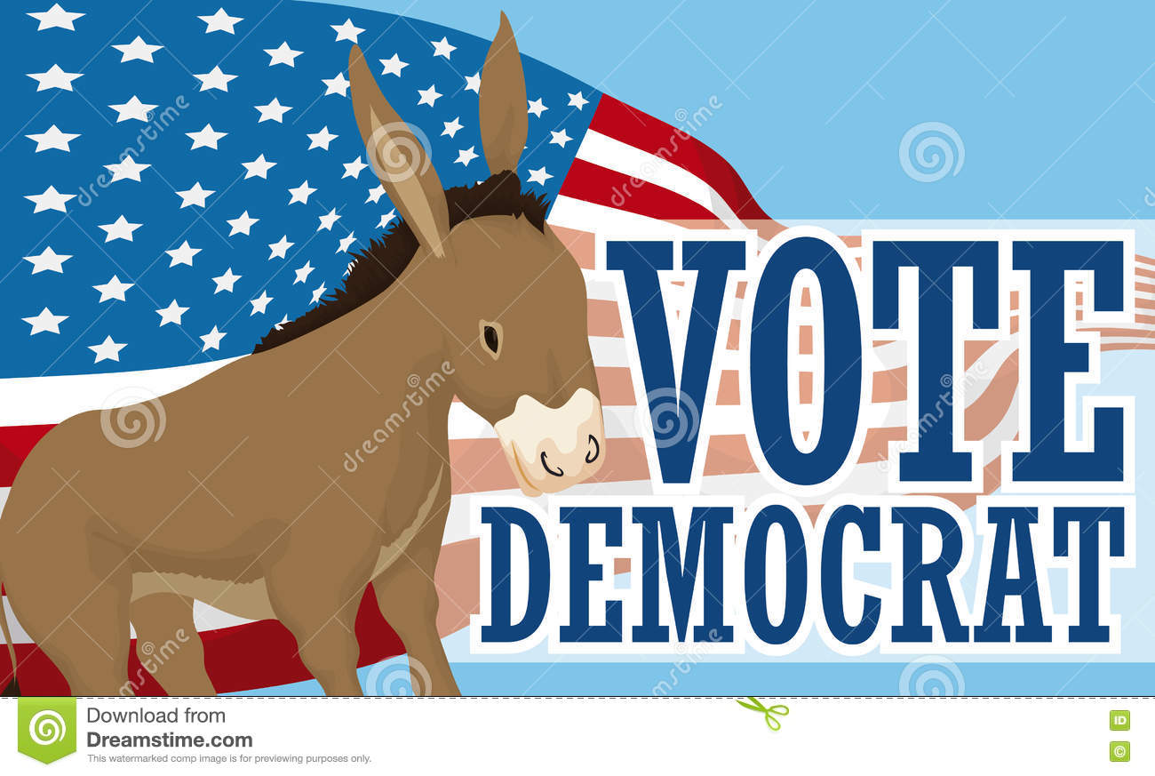 Cartoon Donkey Waving An American Flag