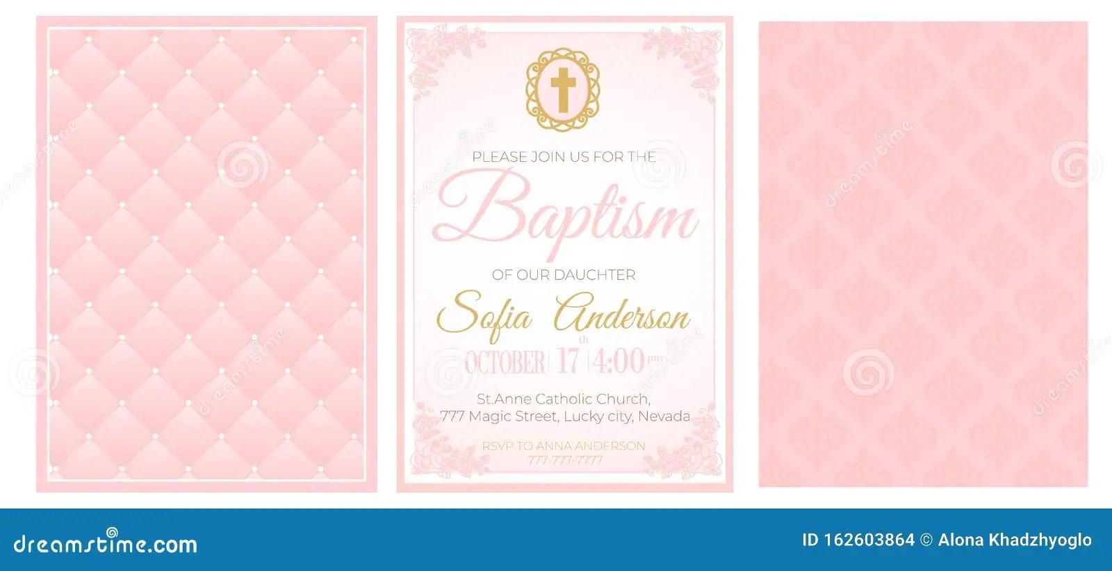 https www dreamstime com baptism cute pale pink invitation template card set illustration baby girl christening ceremony communion confirmation image162603864
