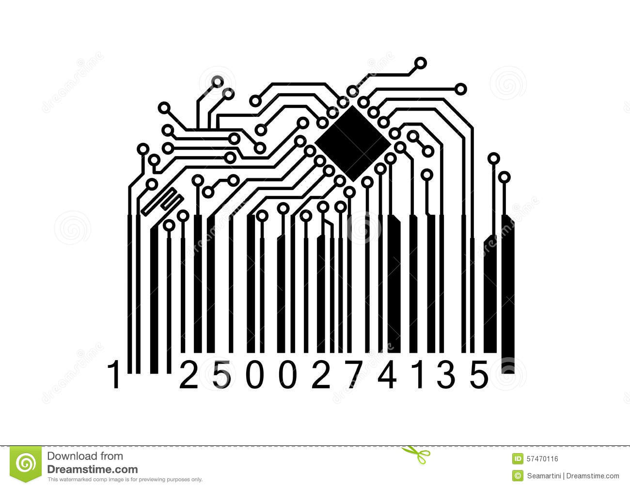 Bar Code With Computer Chip Stock Vector