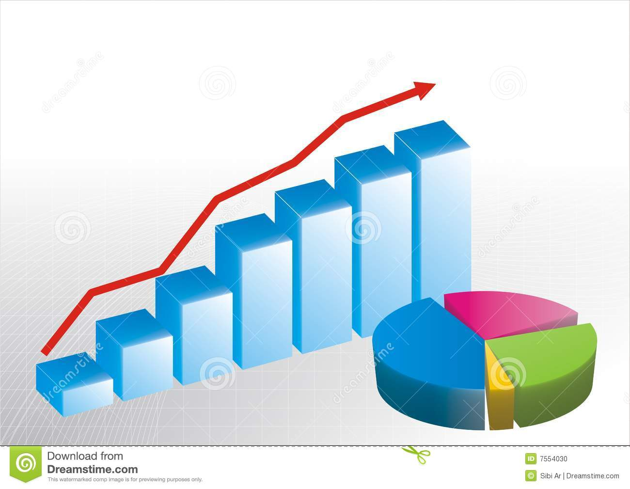 Bar Graph And Pie Chart Stock Vector Illustration Of