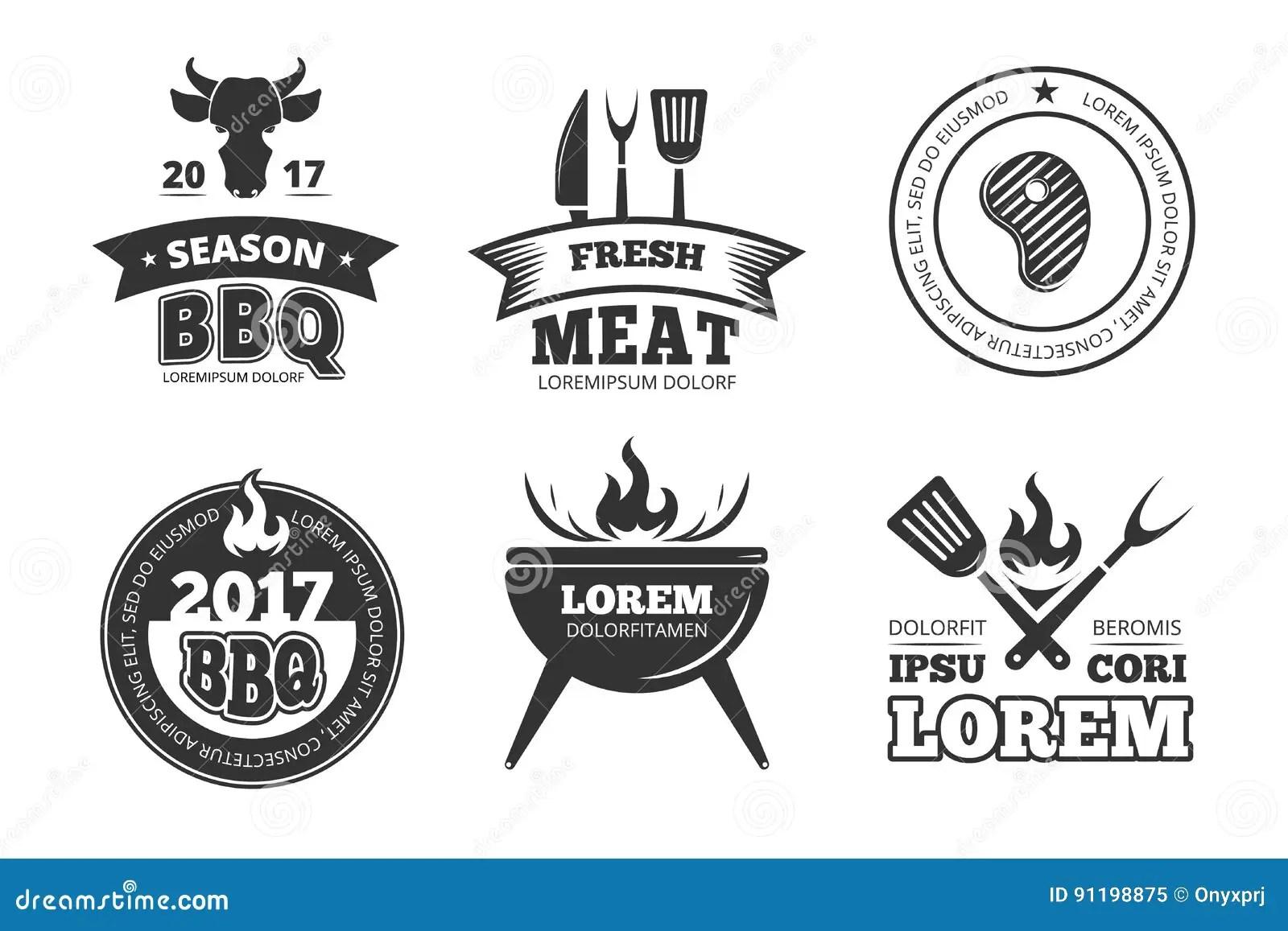 Barbacoa Parrilla Etiquetas Insignias Logotipos Y