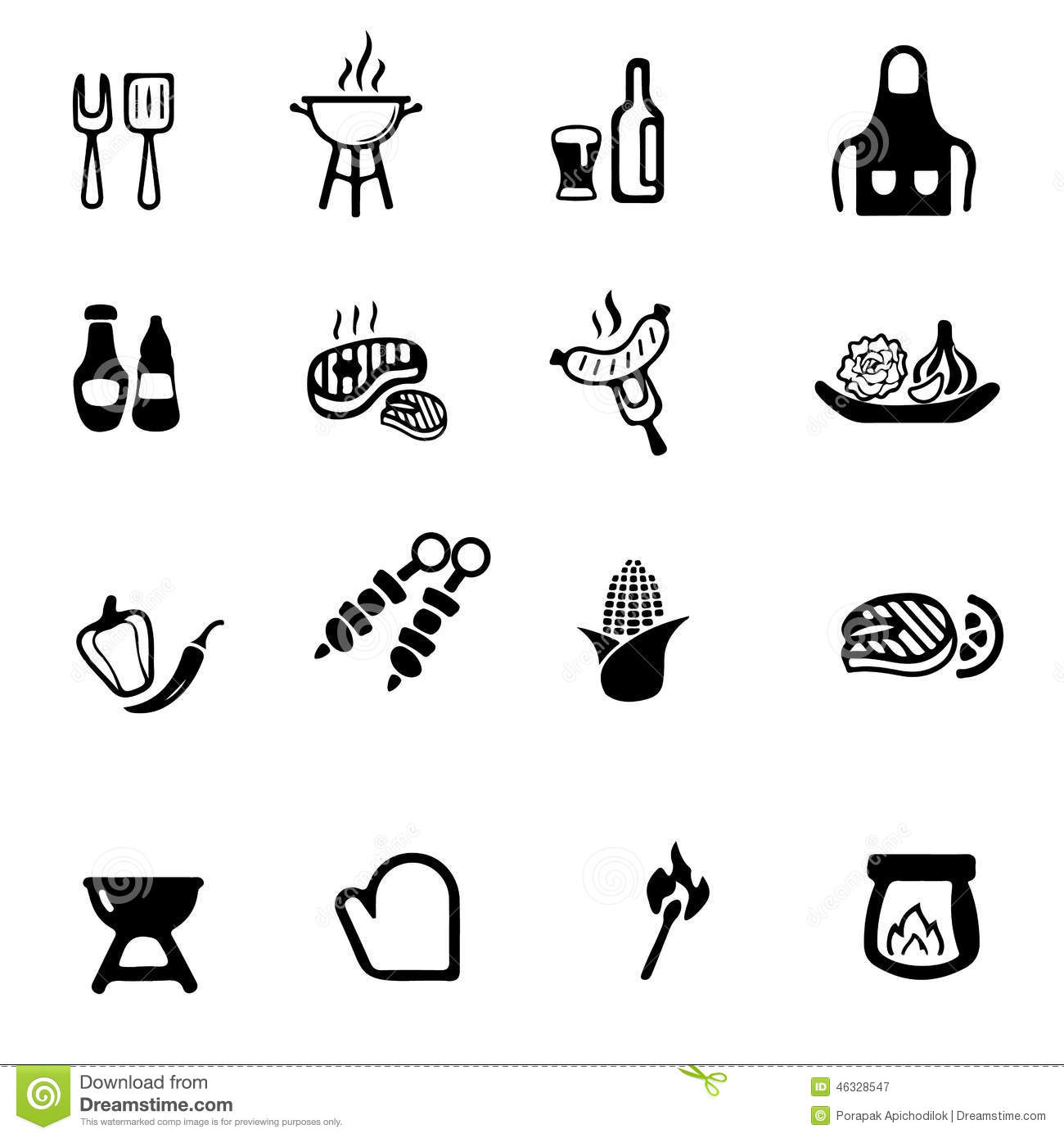 Barbecue Grill Silhouette Icons Stock Illustration