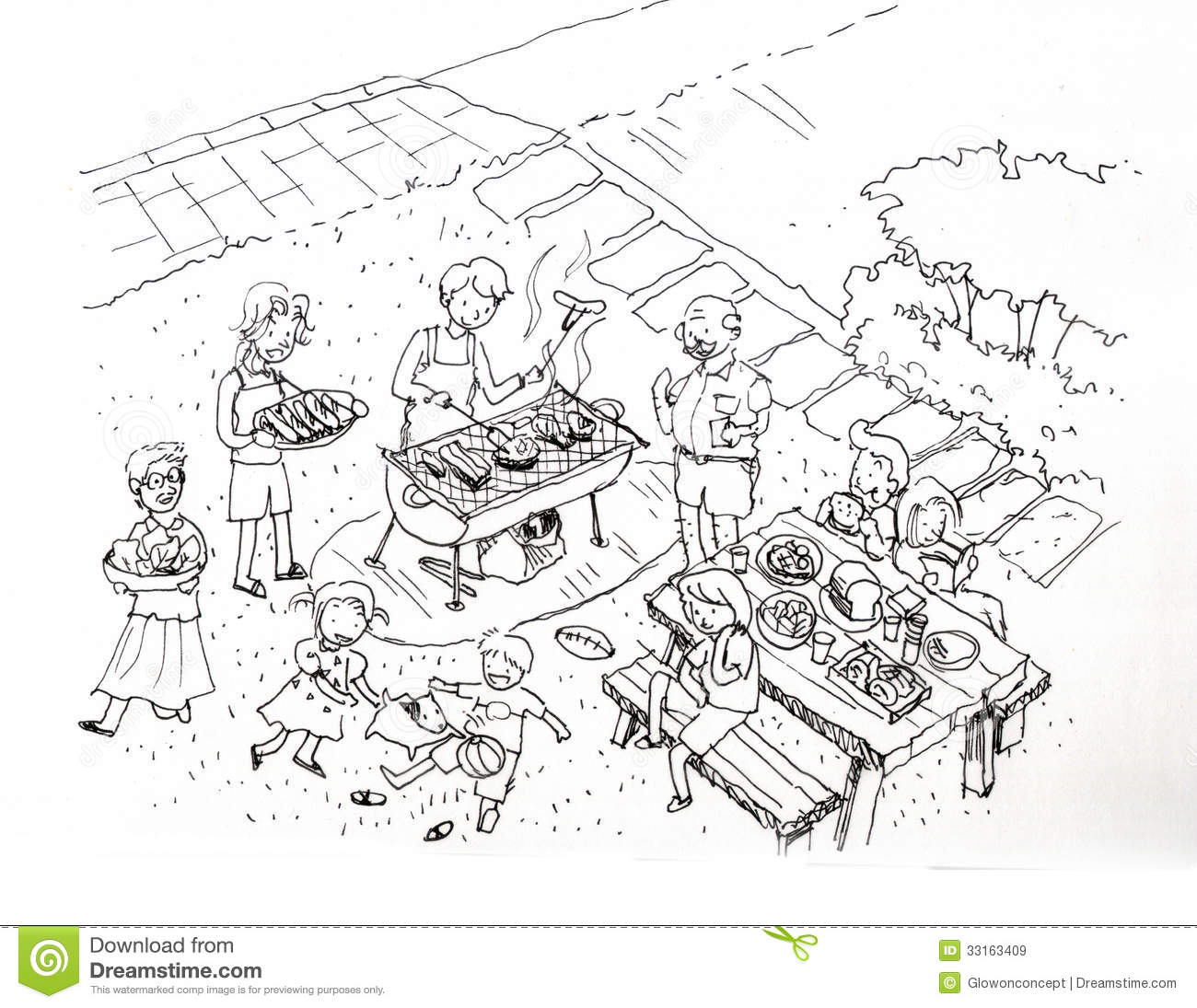 Barbecue Party At The Yard Illustration Stock Illustration