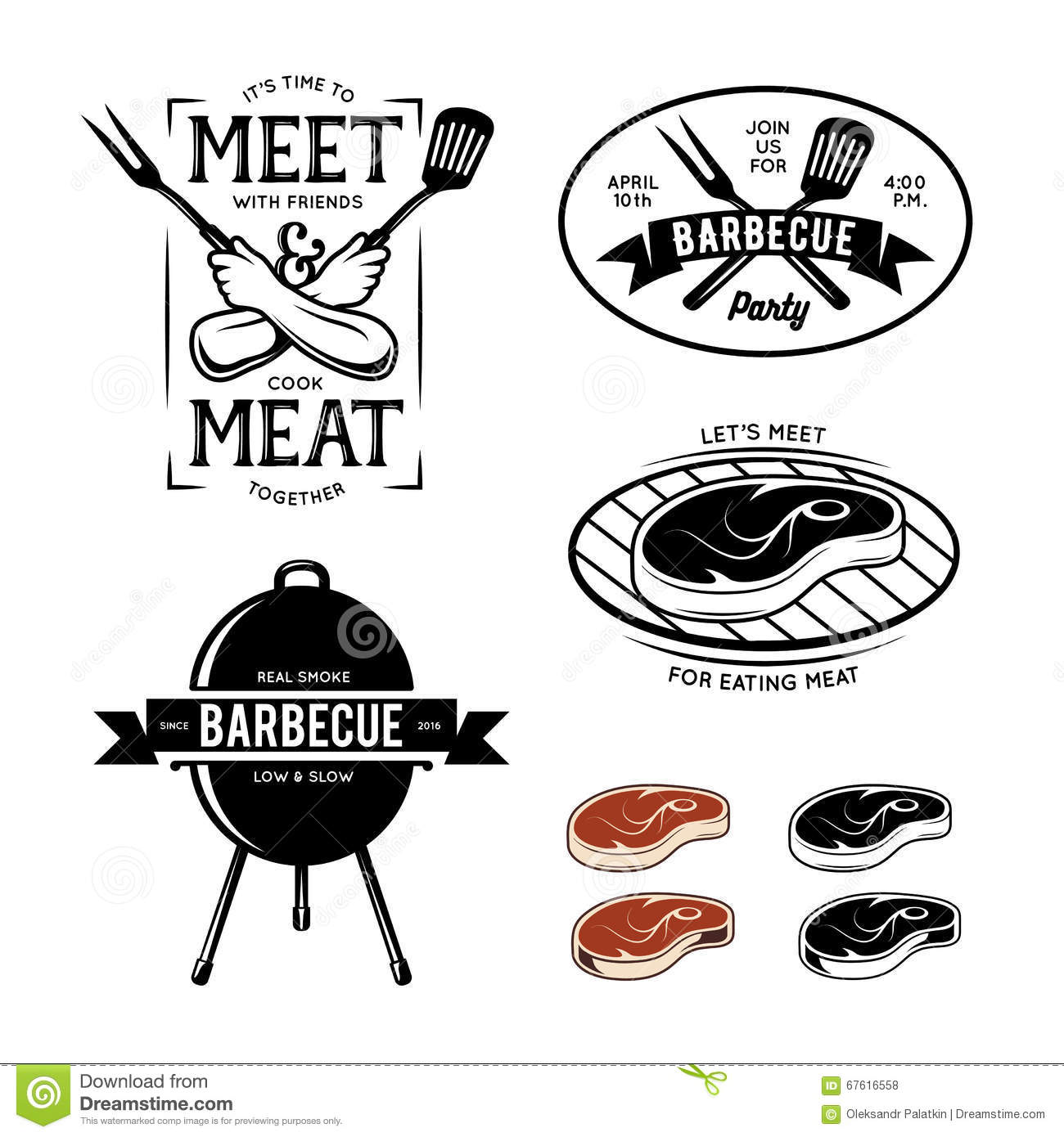 Barbecue Related Labels Badges And Design Elements