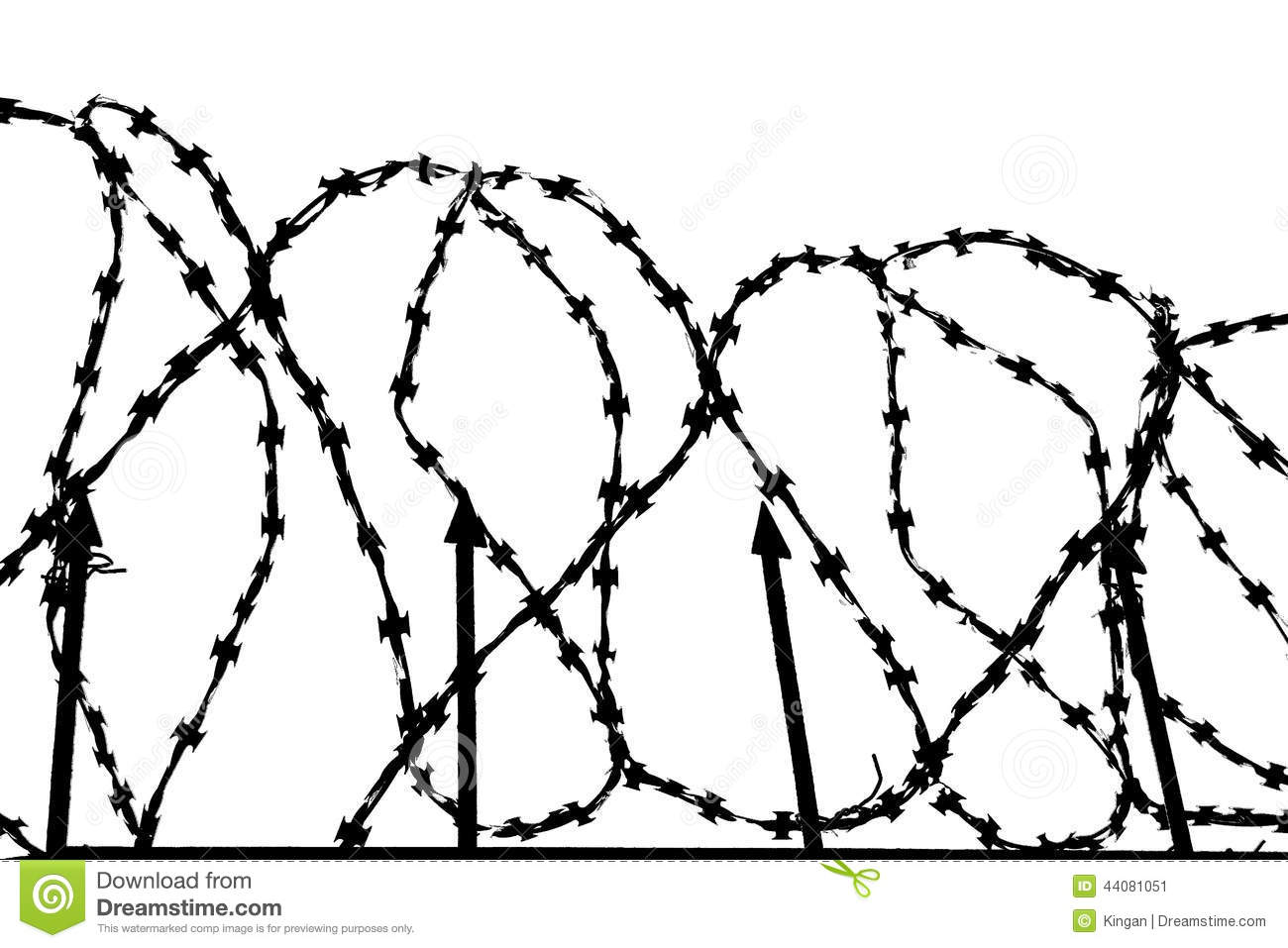 Barbed Wire Barrier Stock Illustration