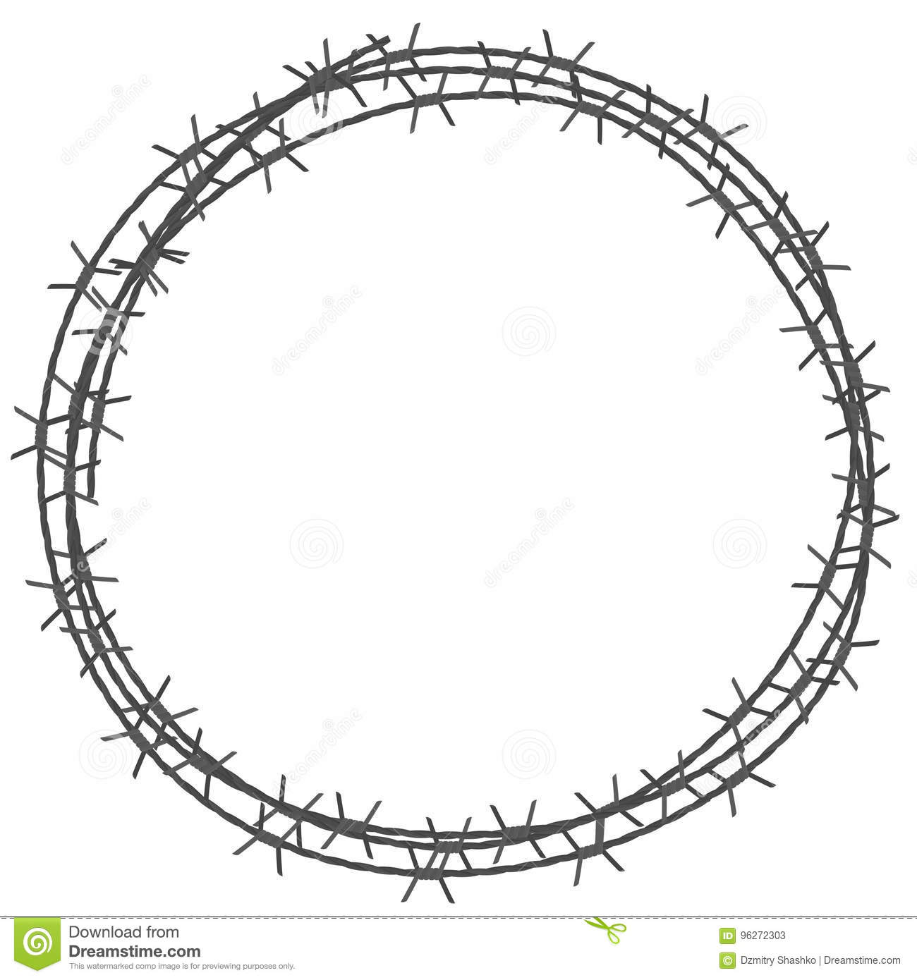 Barbed Wire Circle Border Stock Vector Illustration Of