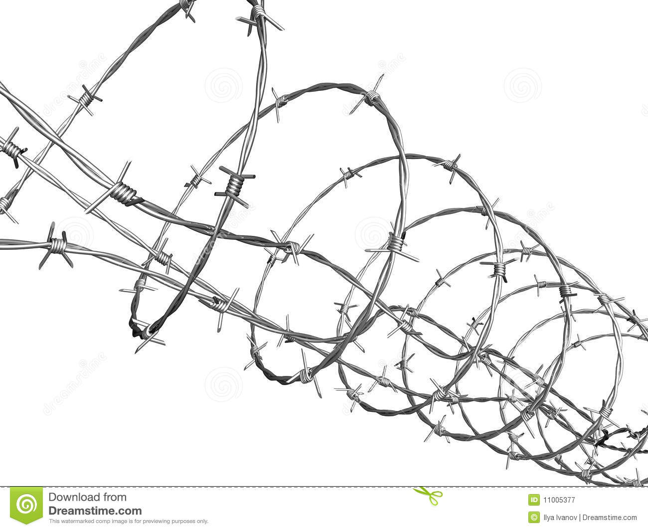Barbed Wire Curled In Spiral Royalty Free Stock