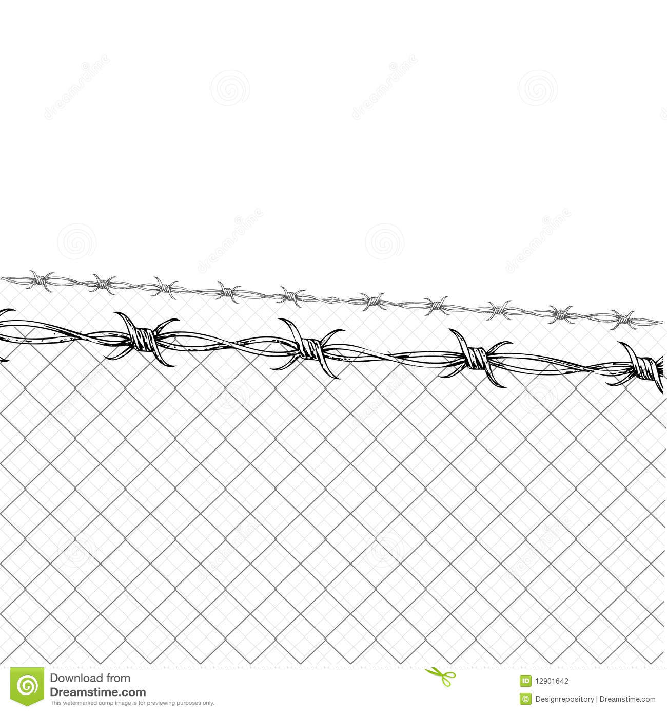 Barbed Wire Fence Stock Vector Illustration Of Isolated