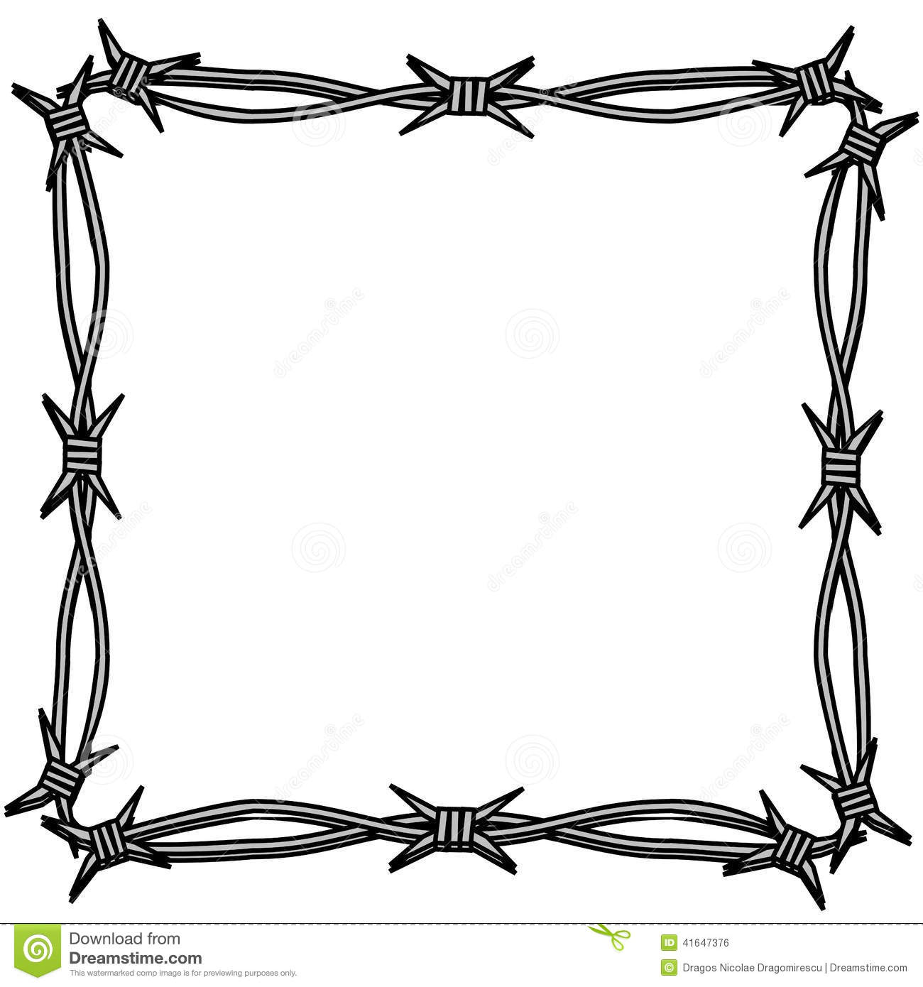 Barbed Wire Simple Frame Stock Illustration