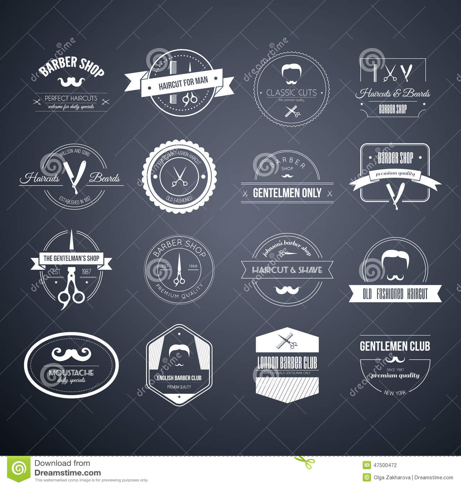Barber Logos Stock Vector Image 47500472