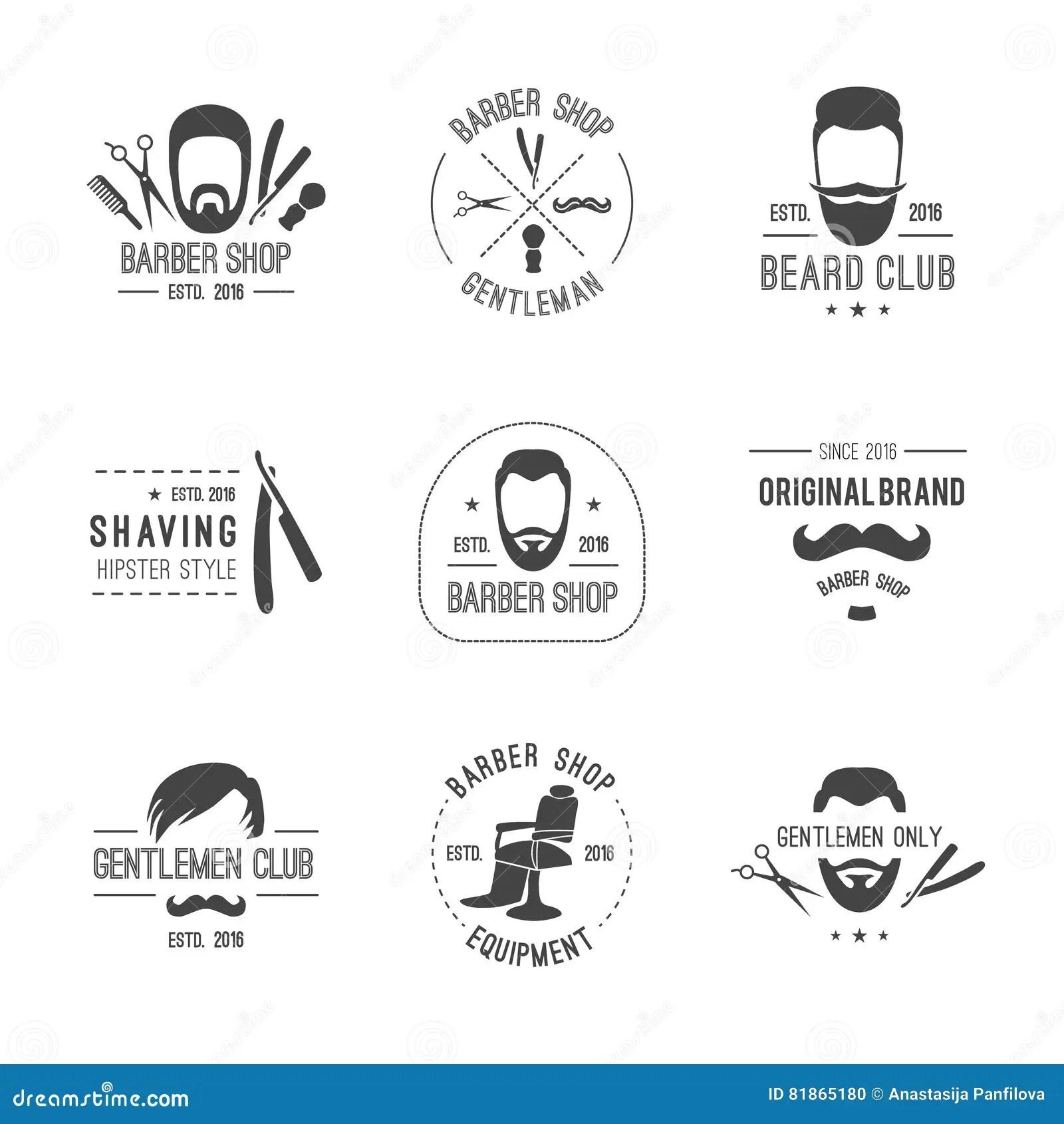 Barber Logos Set Stock Vector Illustration Of Badge