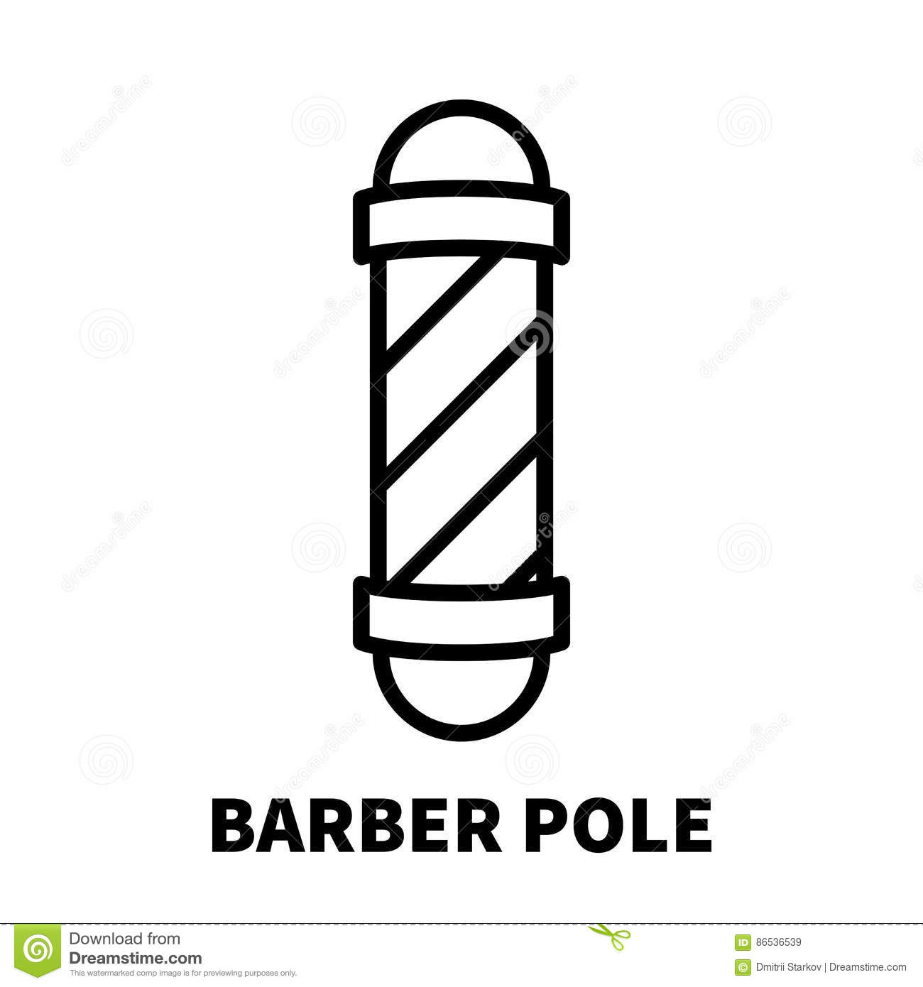 Barber Pole Icon Or Logo In Modern Line Style Stock