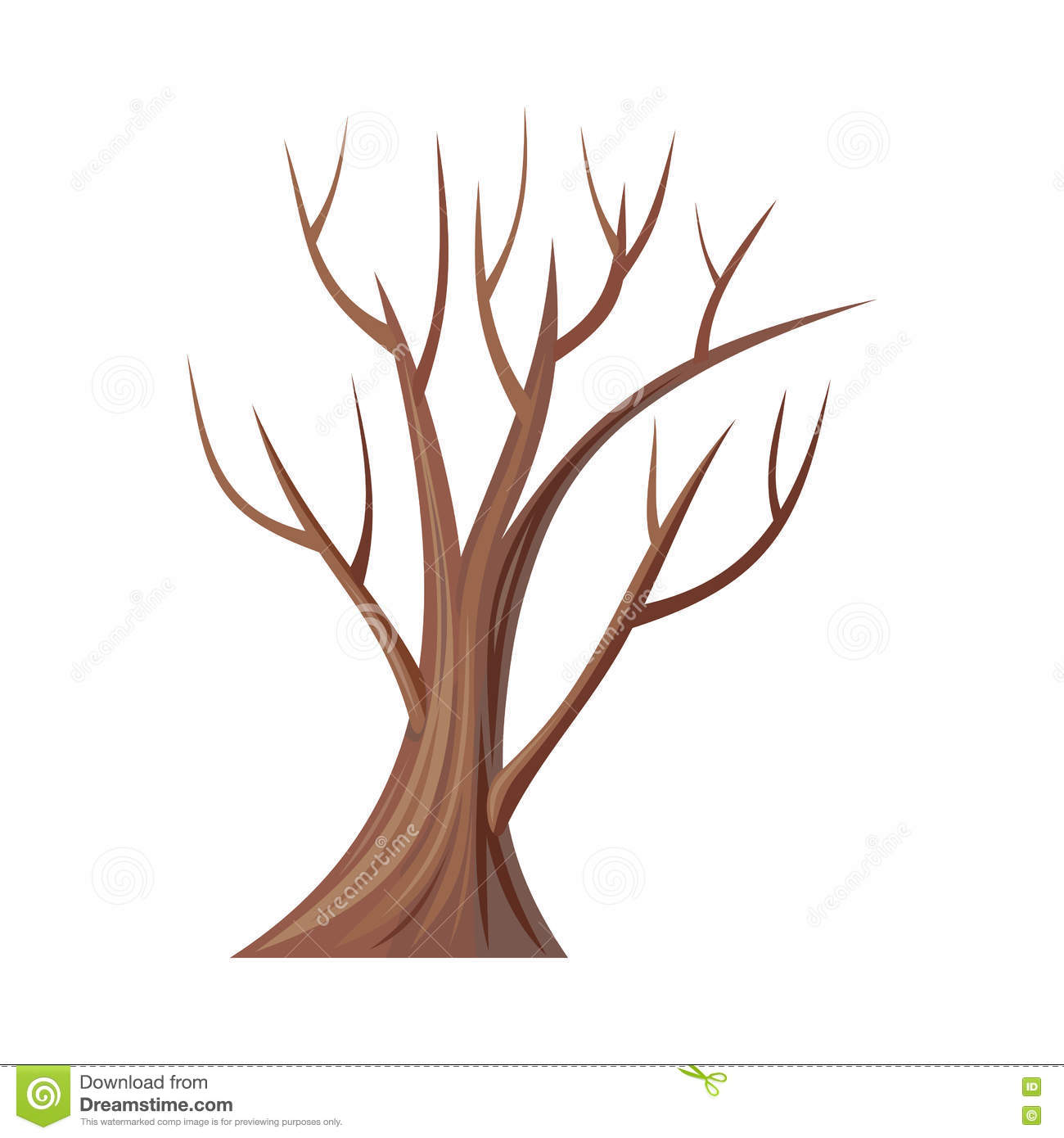 Bare Tree Without Leaves Oak Vector Stock Vector