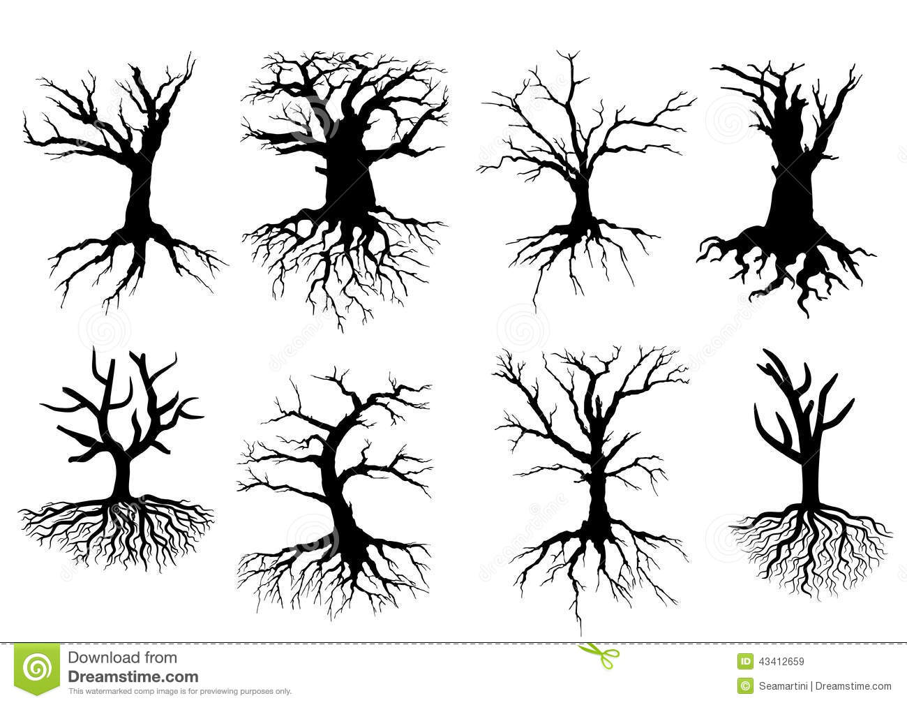 Bare Tree Silhouettes With Roots Stock Vector