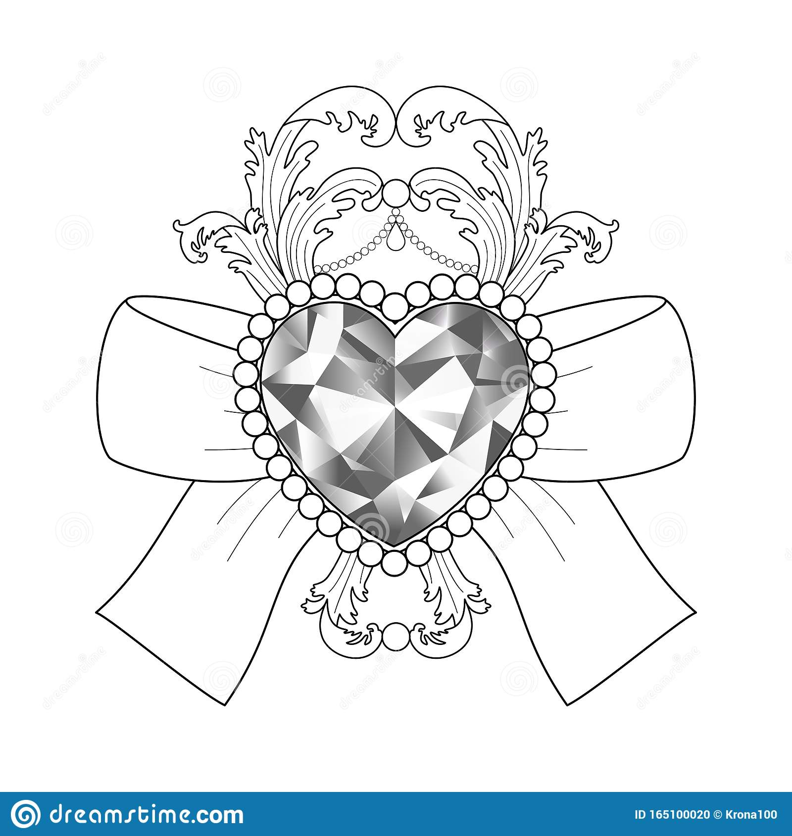 Baroque Diamond Jewelry Pattern Luxury Coloring Page Stock Vector Illustration Of Gift Antique 165100020