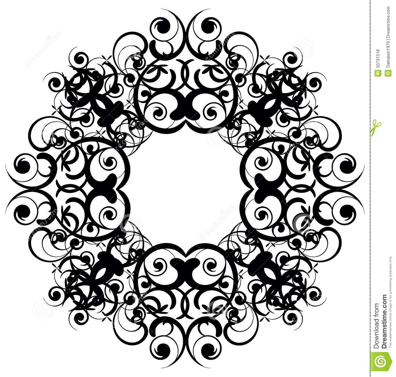 Calligraphy Penmanship Curly Baroque Frame Black Vector Art