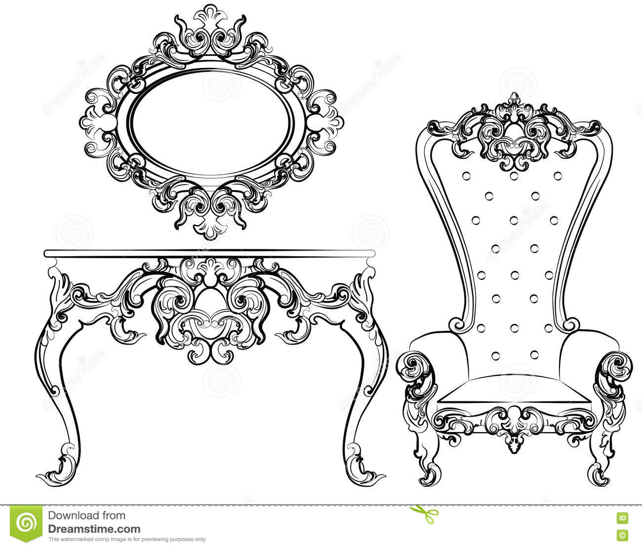 Baroque Royal Set Of Furniture Cartoon Vector