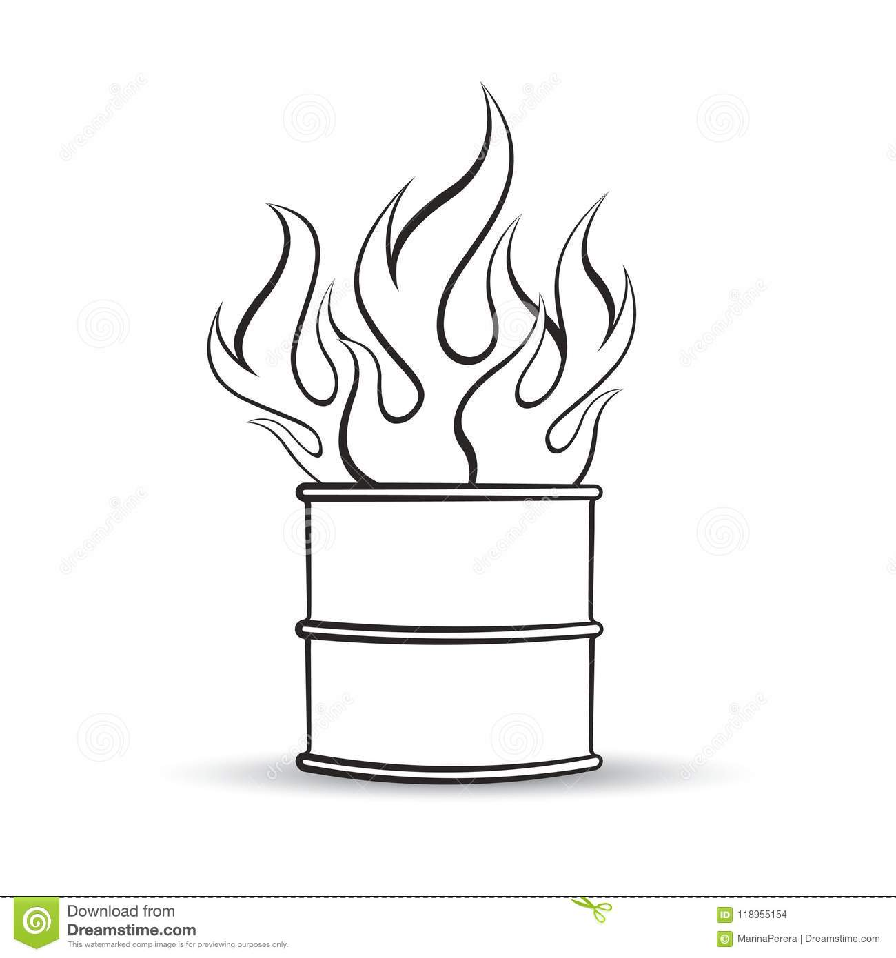 Barrel With Fire In Black Outline Stock Vector