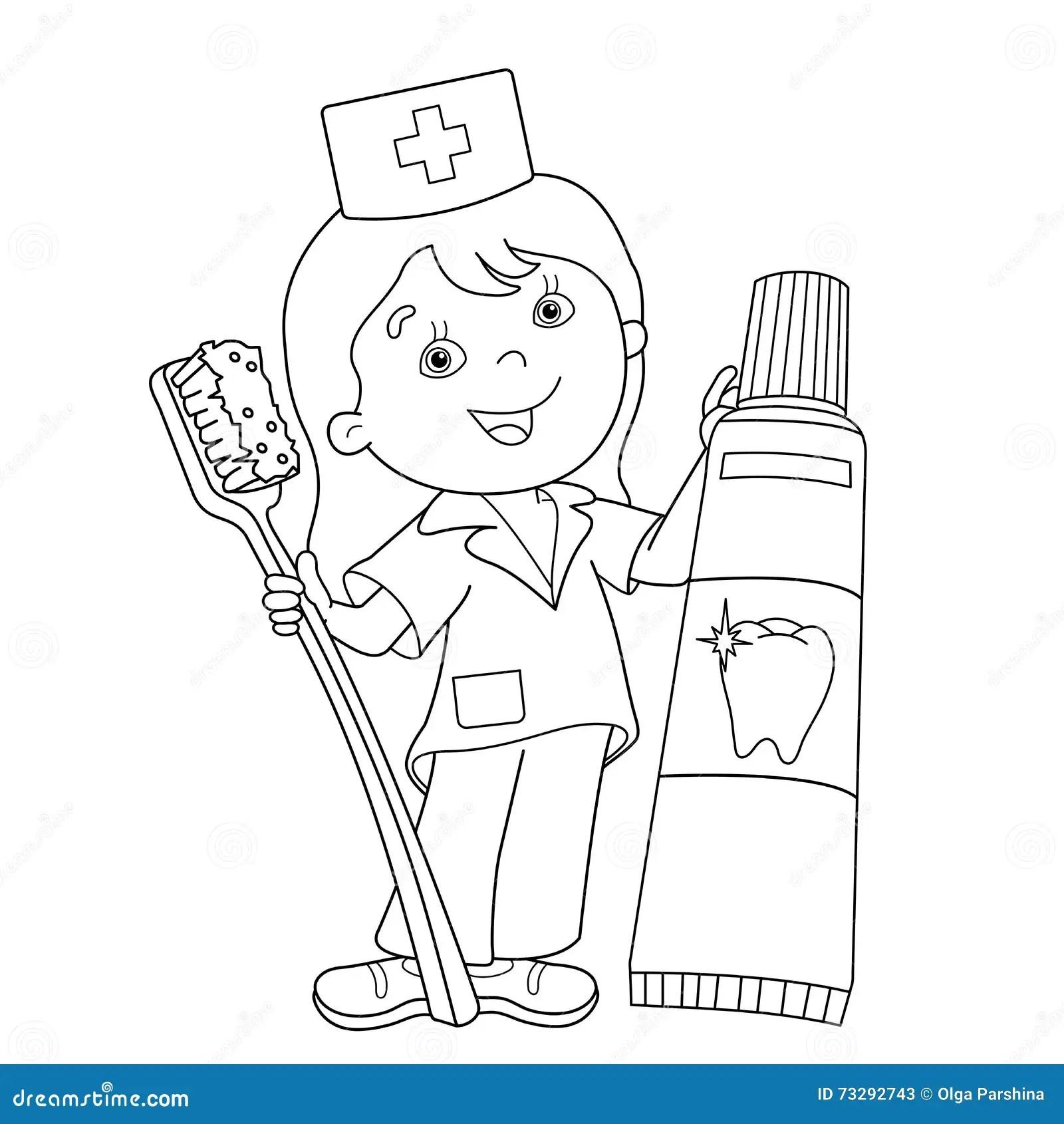 Barwi Strona Kontur Lekarka Z Toothbrush I Pasta Do Z Bow Ilustracja Wektor