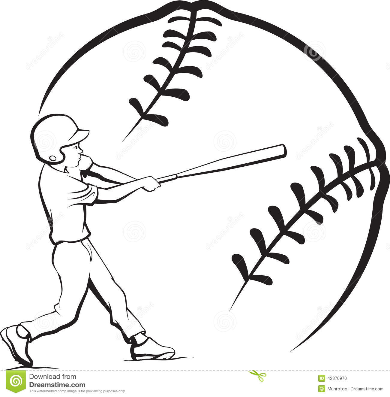 Baseball Boy Batting With Stylized Ball Stock Vector