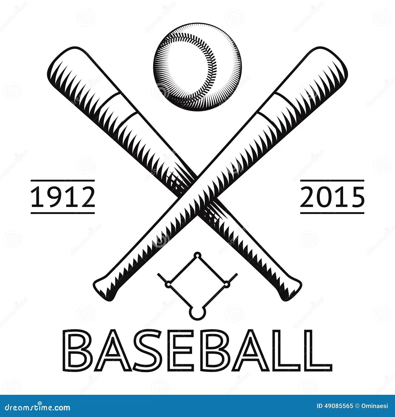 Baseball Logo Symbol Bat Ball Game Field Icon Stock Vector