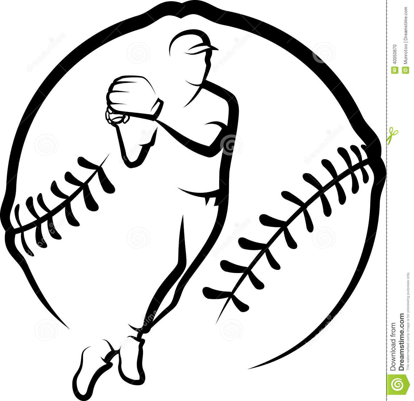 Baseball Player Throwing With Text Amp Stylized Ball Stock