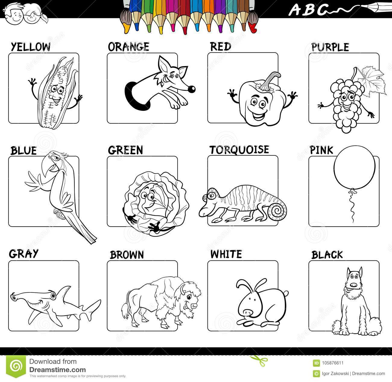 Basic Colors Educational Worksheet For Coloring Stock