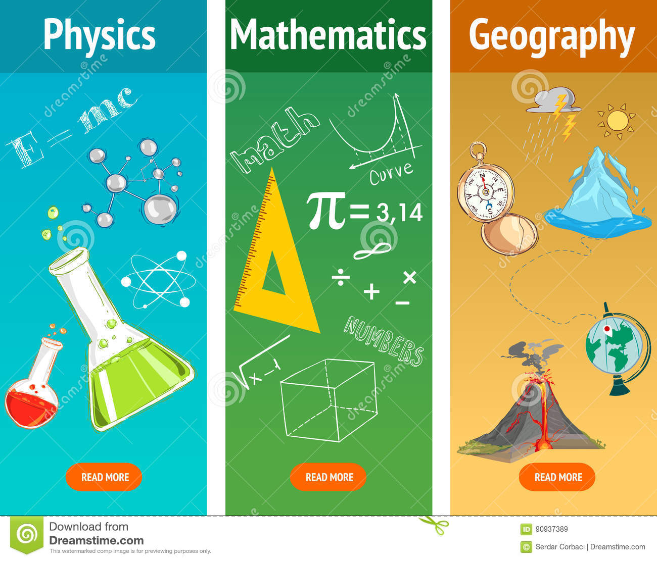 Basic Math Physics Subject Geography Science School Subjects Stock Vector