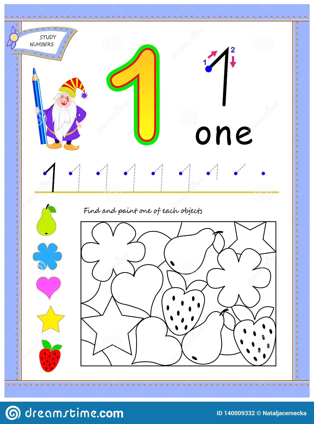 Educational Page For Kids With Number 1 Find And Paint
