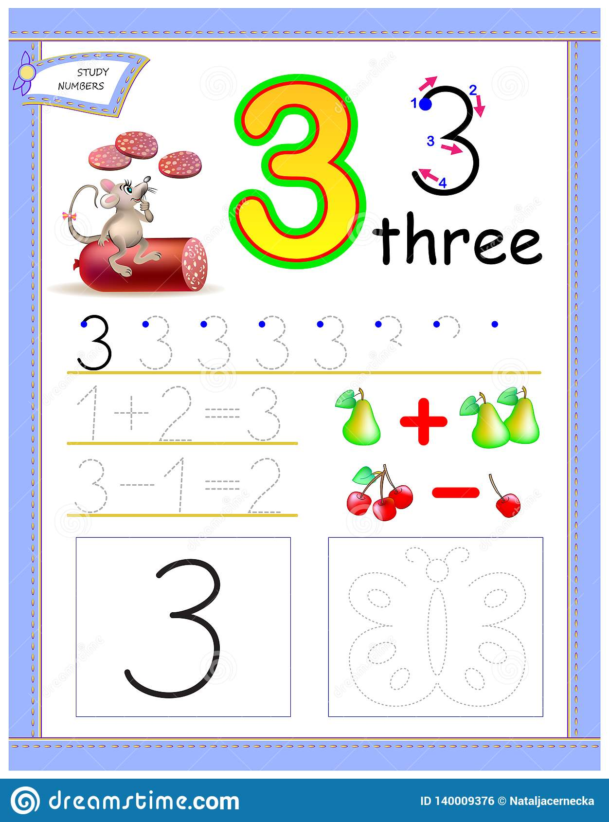 Educational Page For Kids With Number 3 Draw The Contour