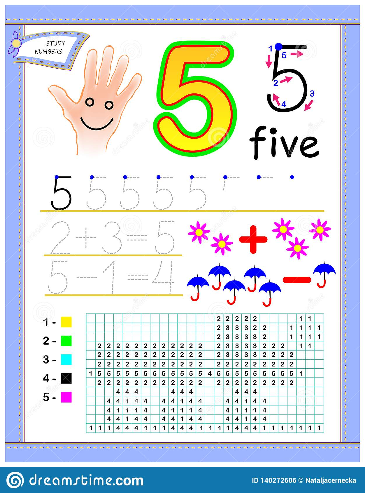 Educational Page For Kids With Number 5 Paint The Picture