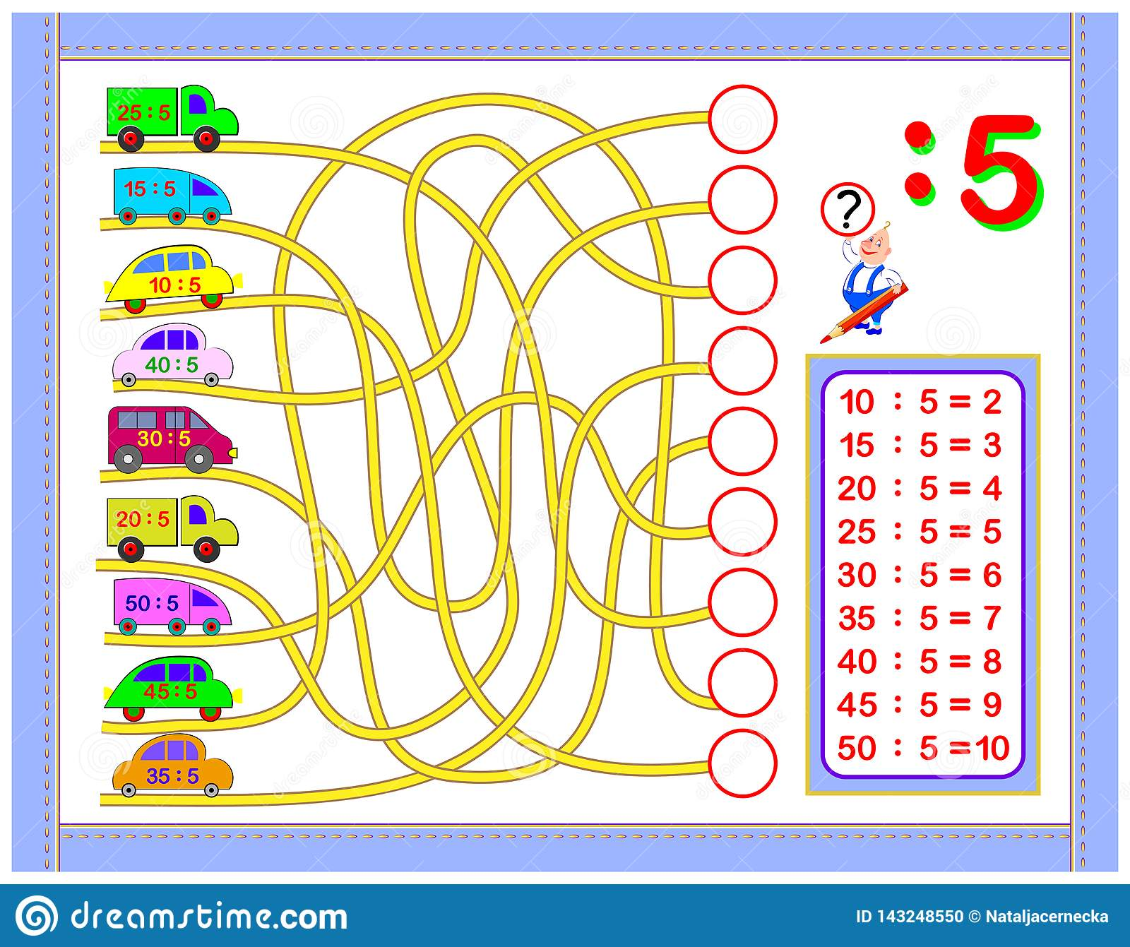 Exercises For Kids With Division By Number 5 Paint The