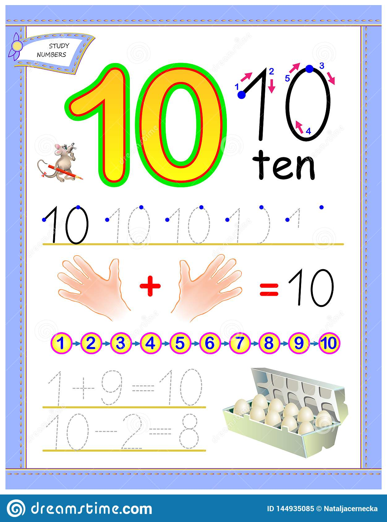 Educational Page For Kids With Number 10 Solve