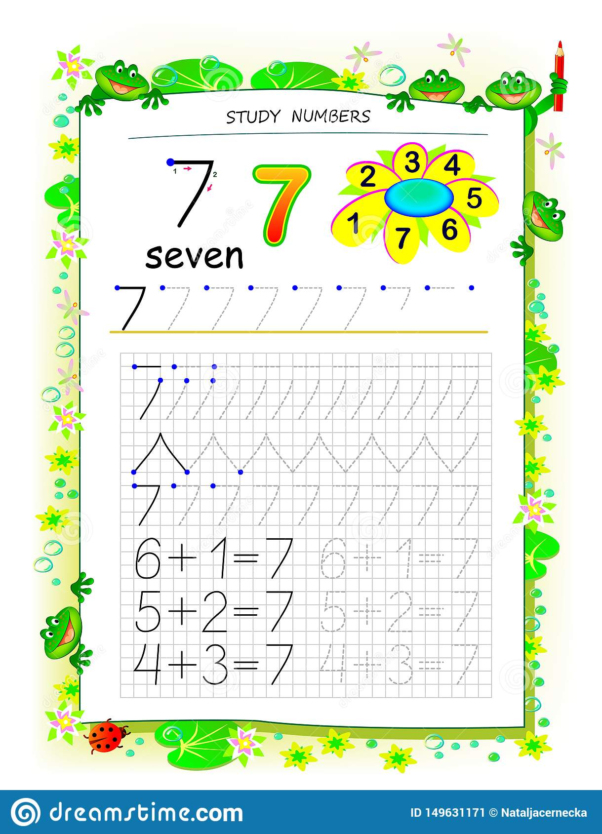Educational Page On Square Paper For Kids With Number 7