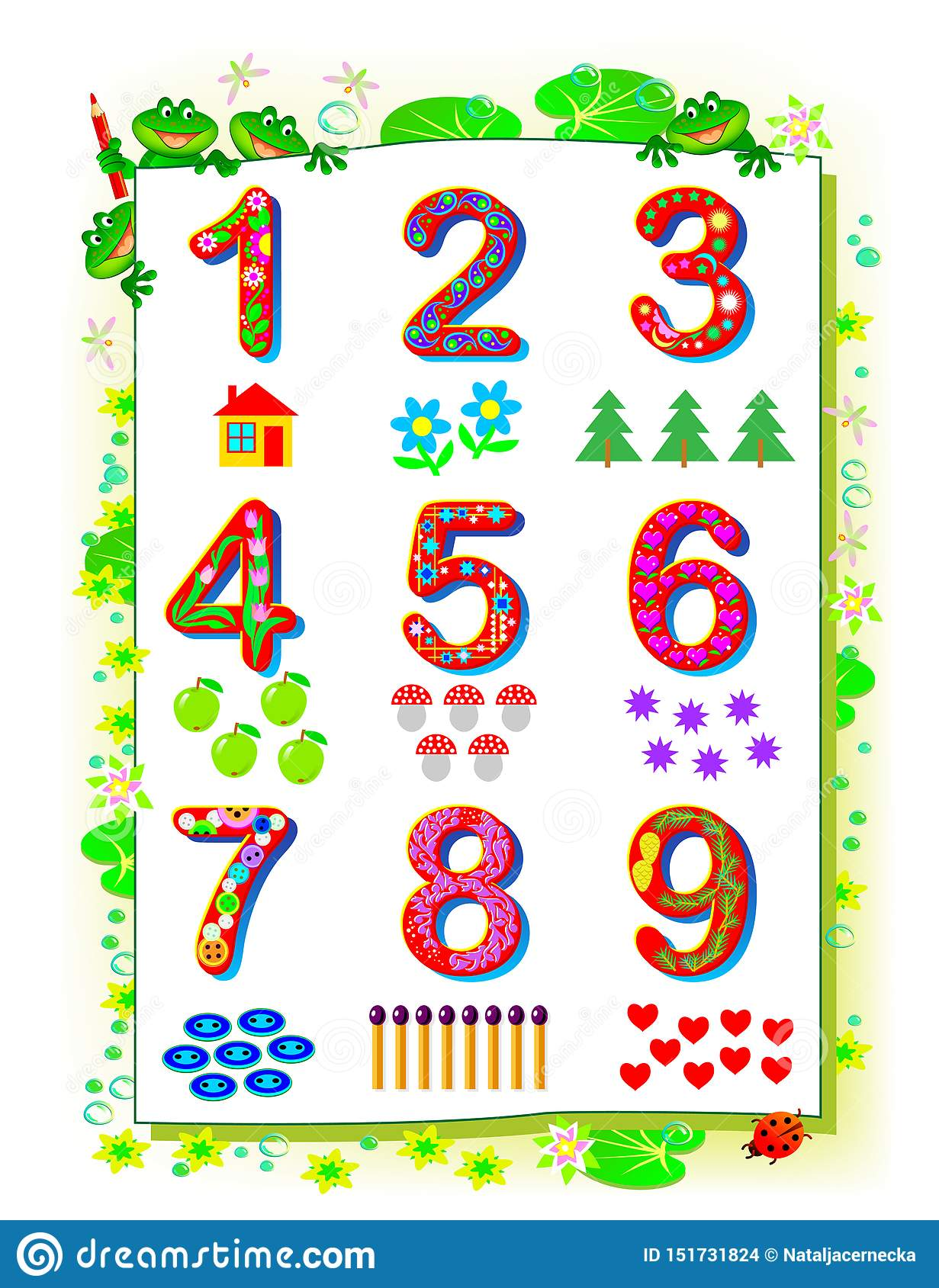 Educational Page For Baby Book Set Of Funny Numbers From