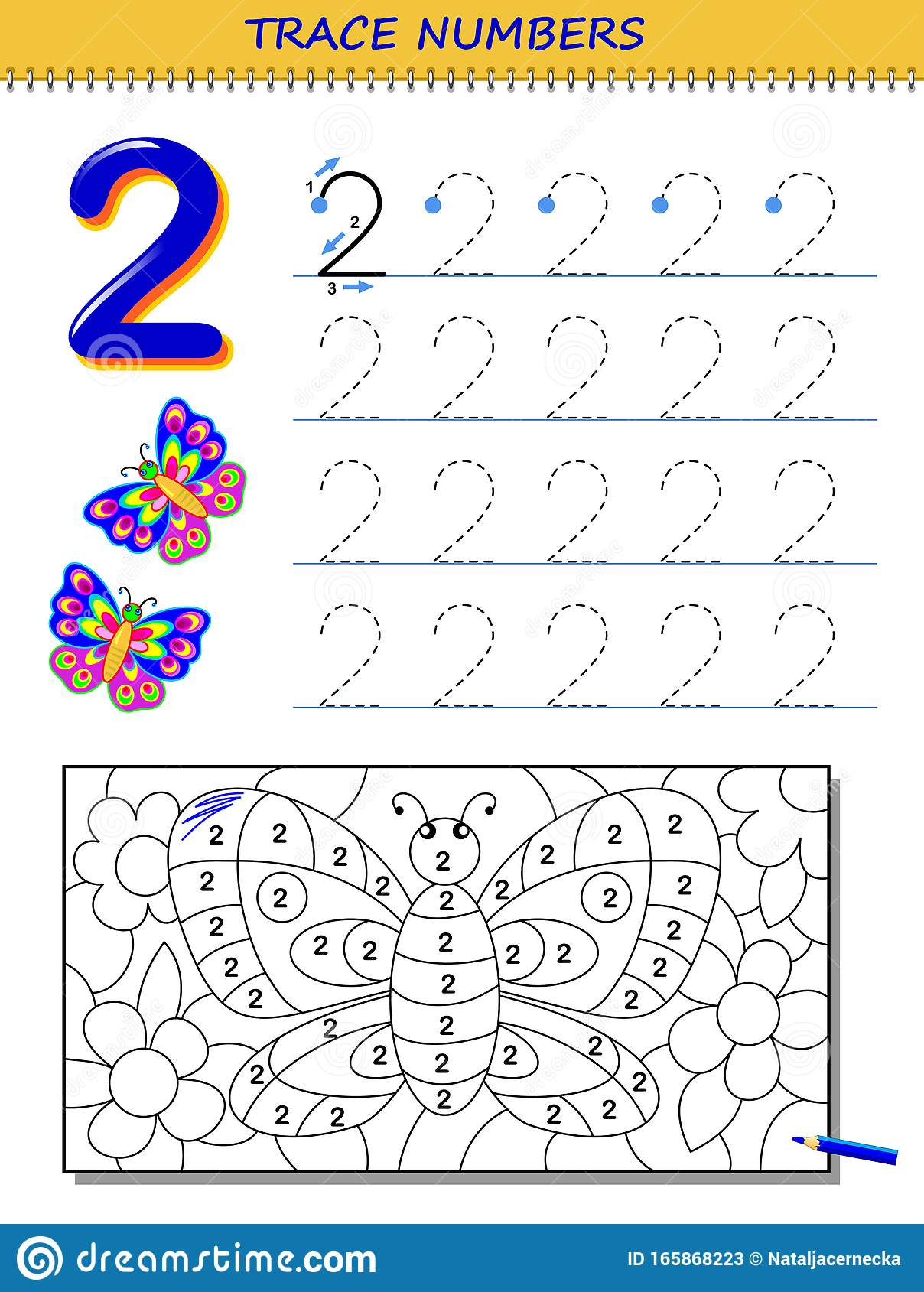 Educational Page For Kids With Number 2 Printable