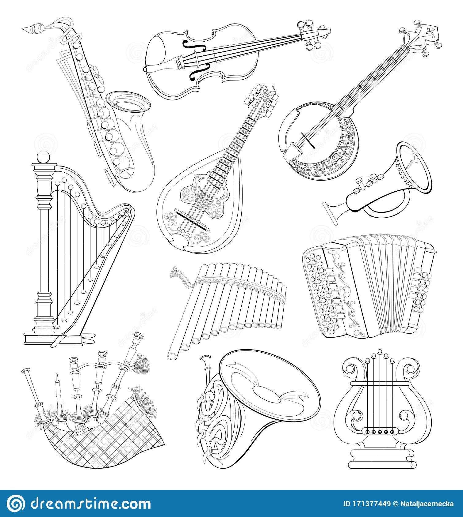 Set Of Different Wind And Stringed Musical Instruments