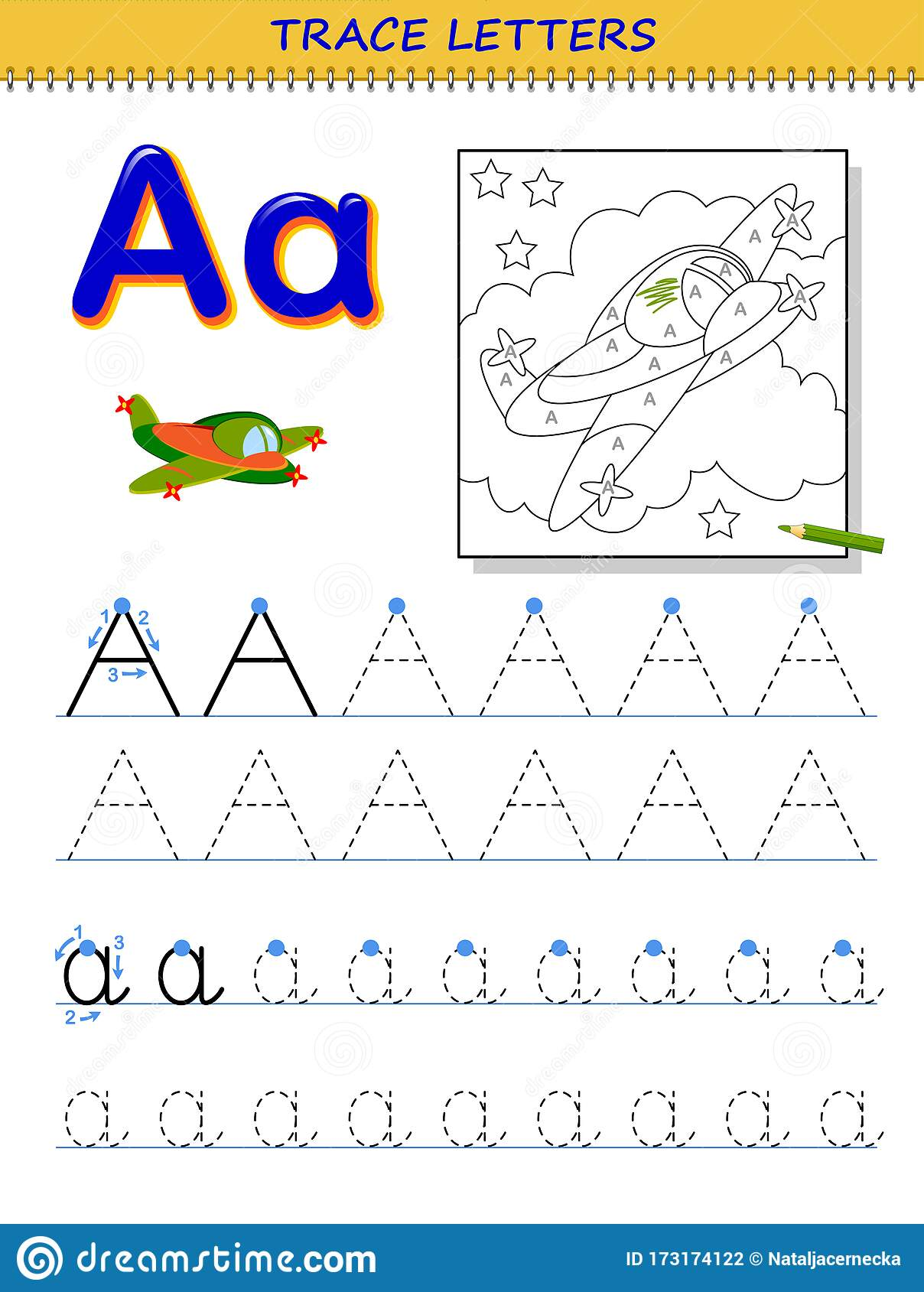 Tracing Letter A For Study Alphabet Printable Worksheet