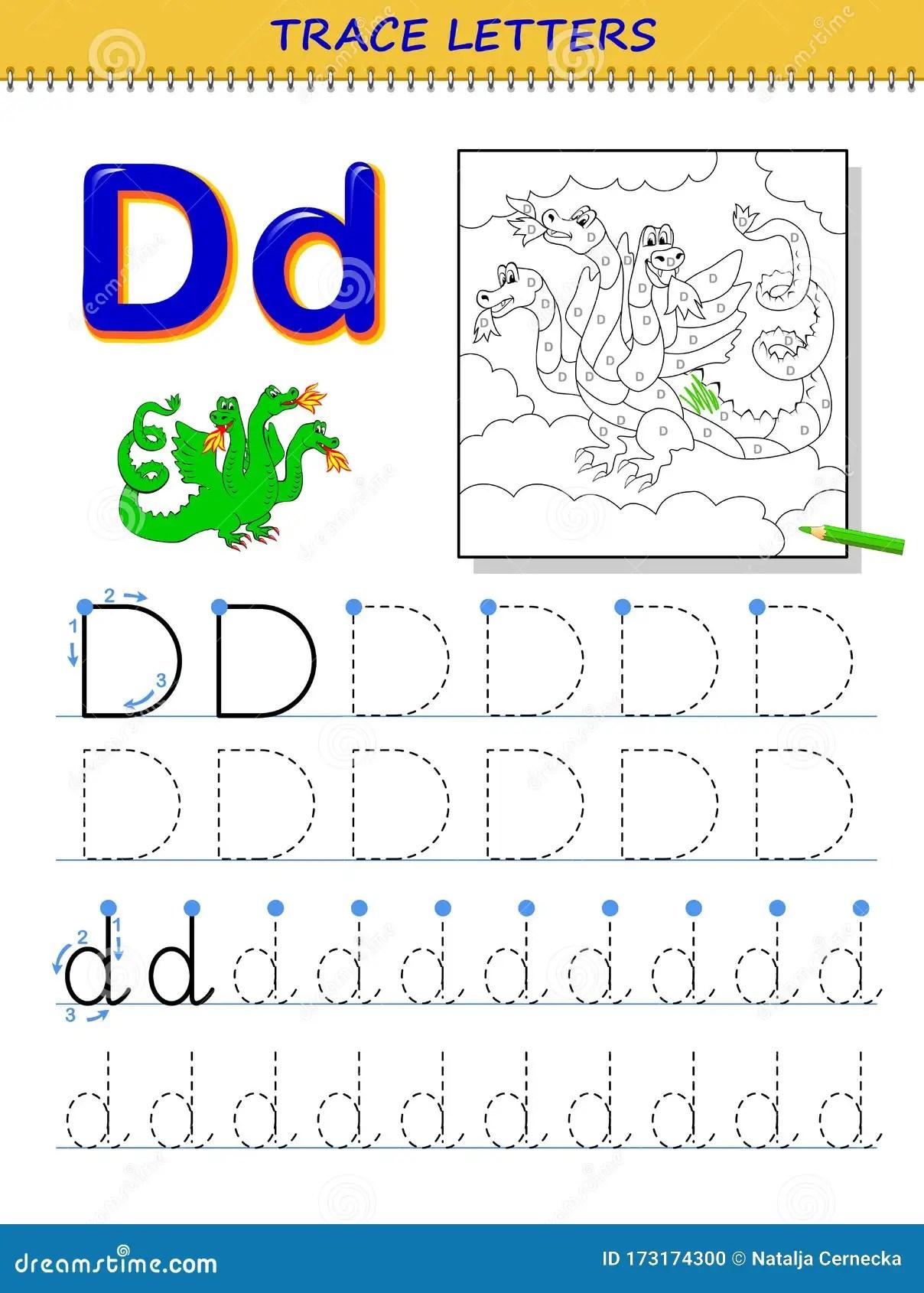 Tracing Letter D For Study Alphabet Printable Worksheet