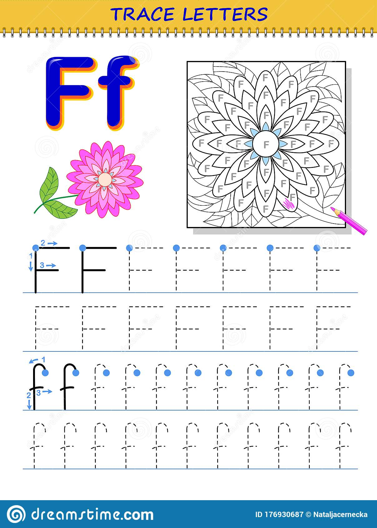 Tracing Letter F For Study Alphabet Printable Worksheet