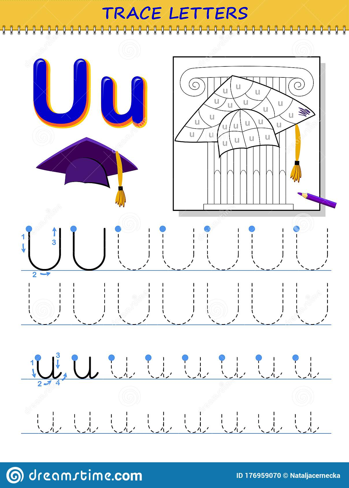 Tracing Letter U For Study Alphabet Printable Worksheet