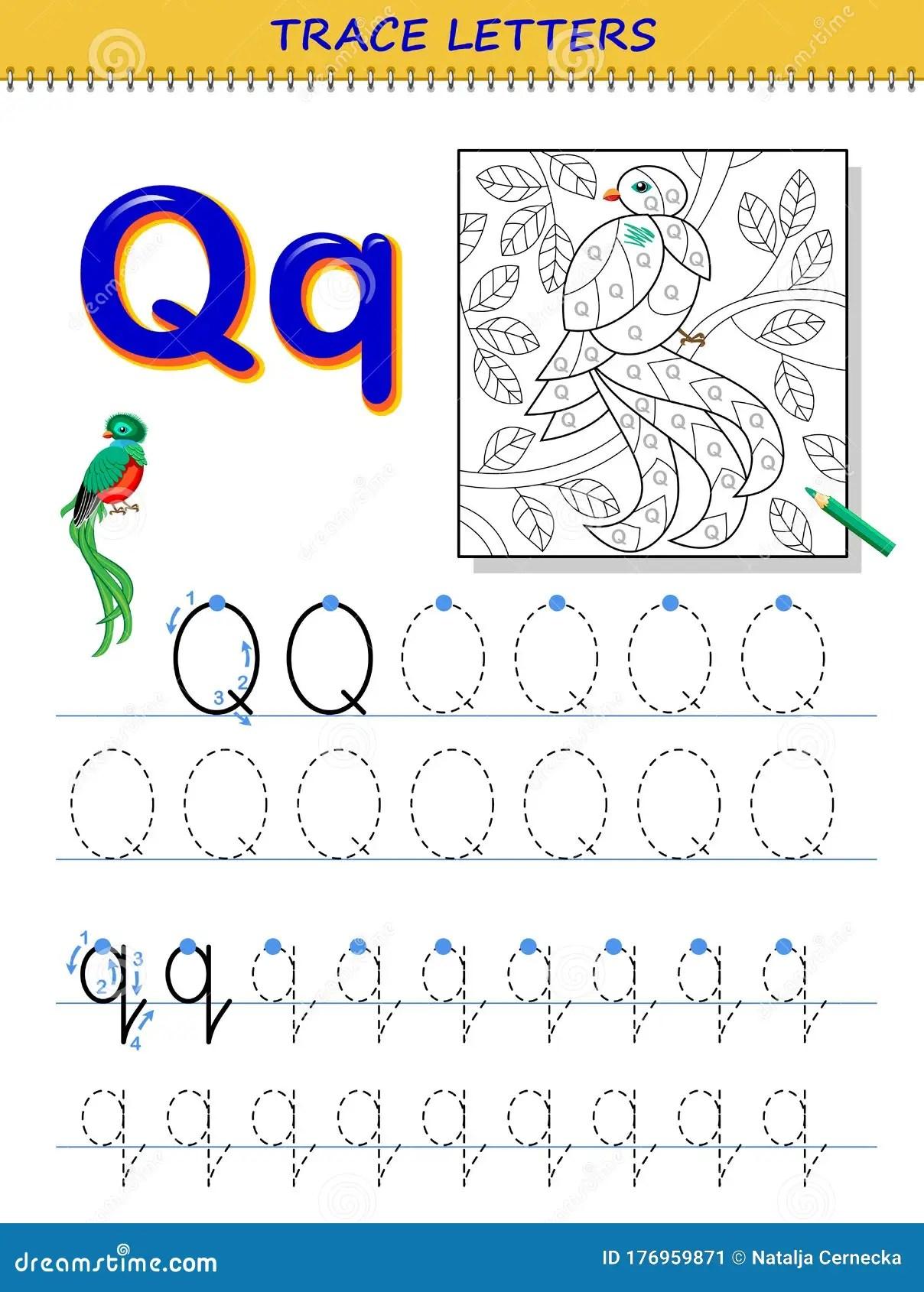 Tracing Letter Q For Study Alphabet Printable Worksheet