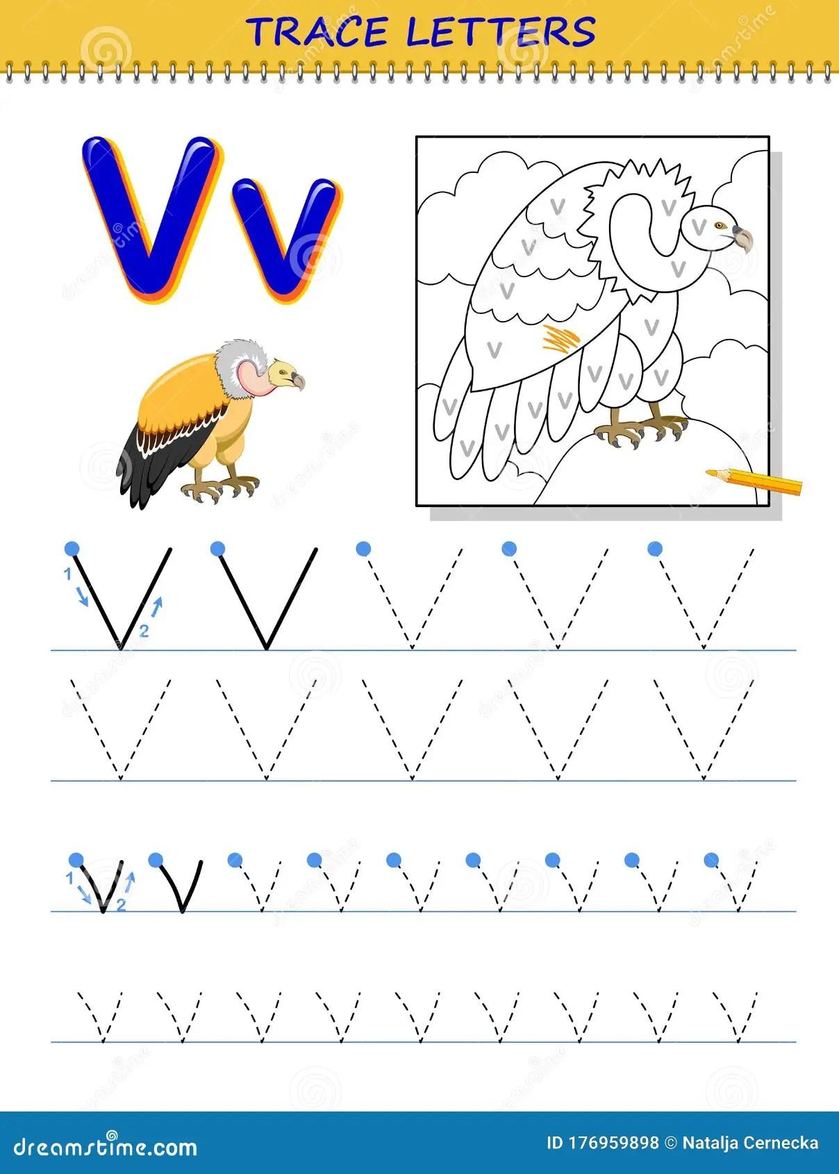 Tracing Letter V For Study Alphabet Printable Worksheet