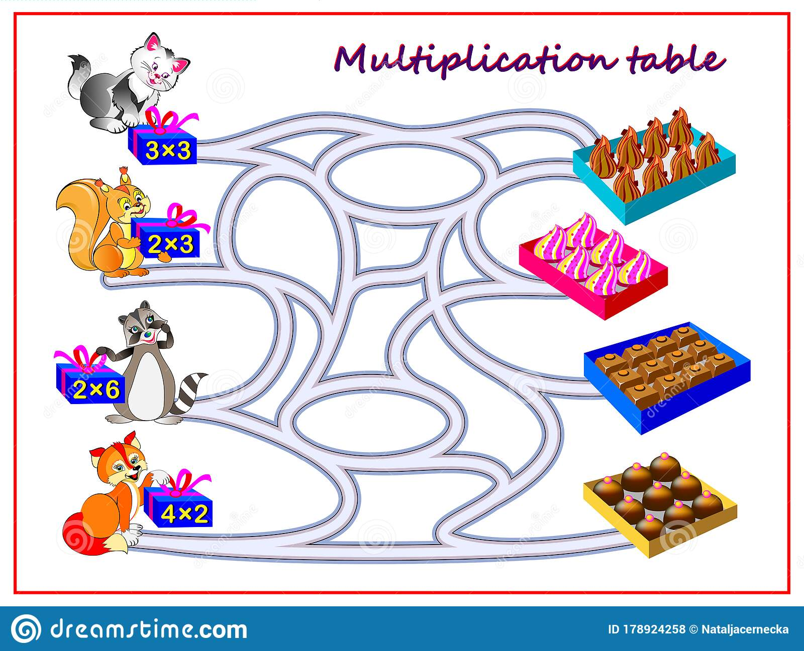 Multiplication Table With Labyrinth For Kids Count The