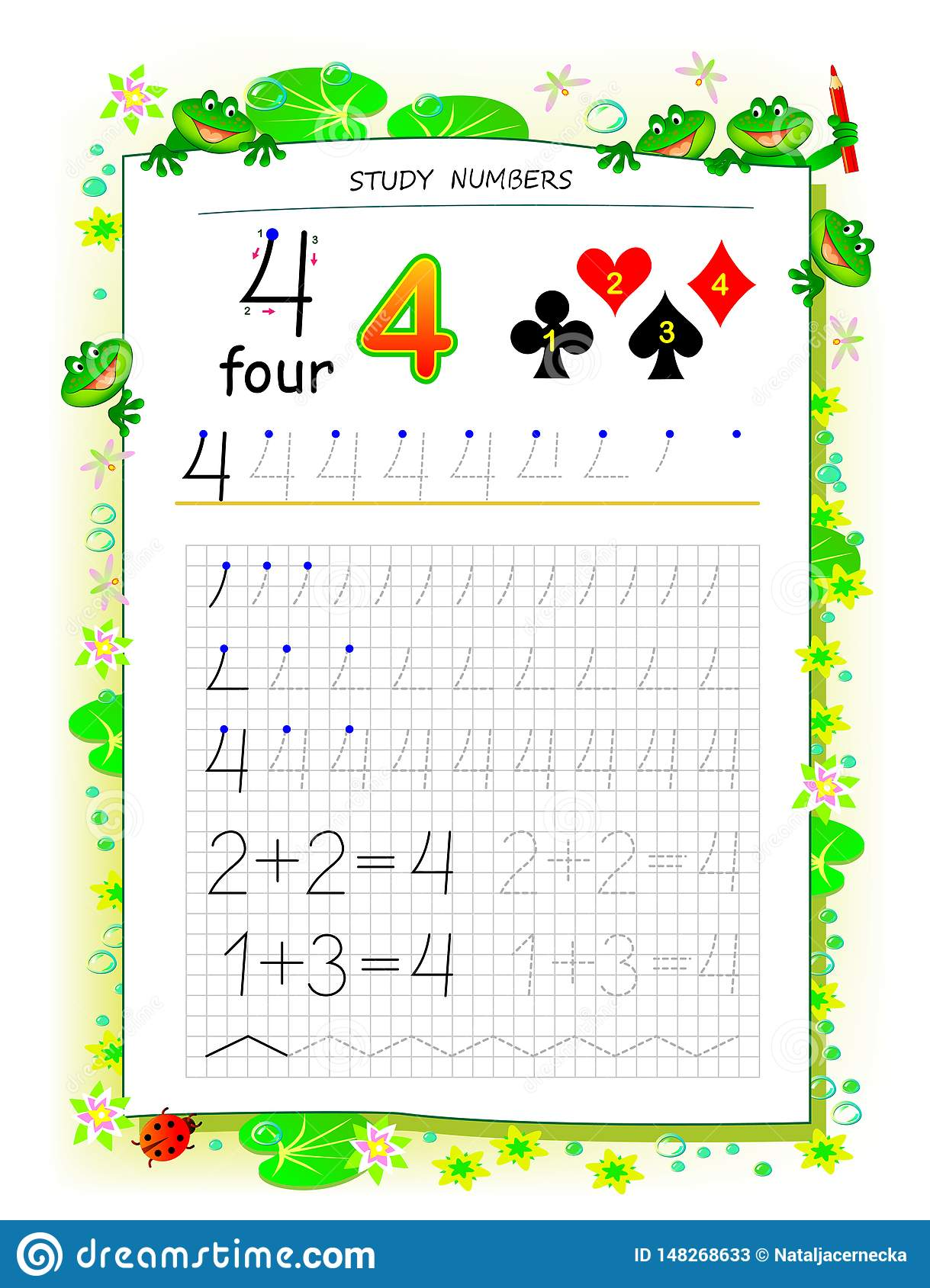 Educational Page On Square Paper For Kids With Number 4