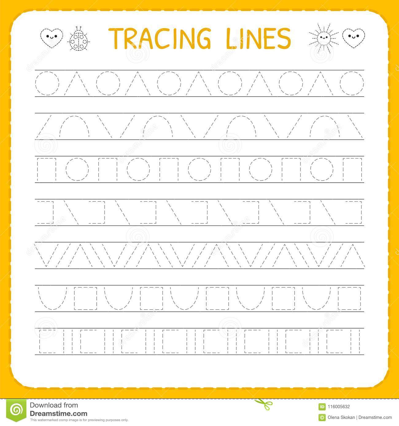 Basic Writing Trace Line Worksheet For Kids Working