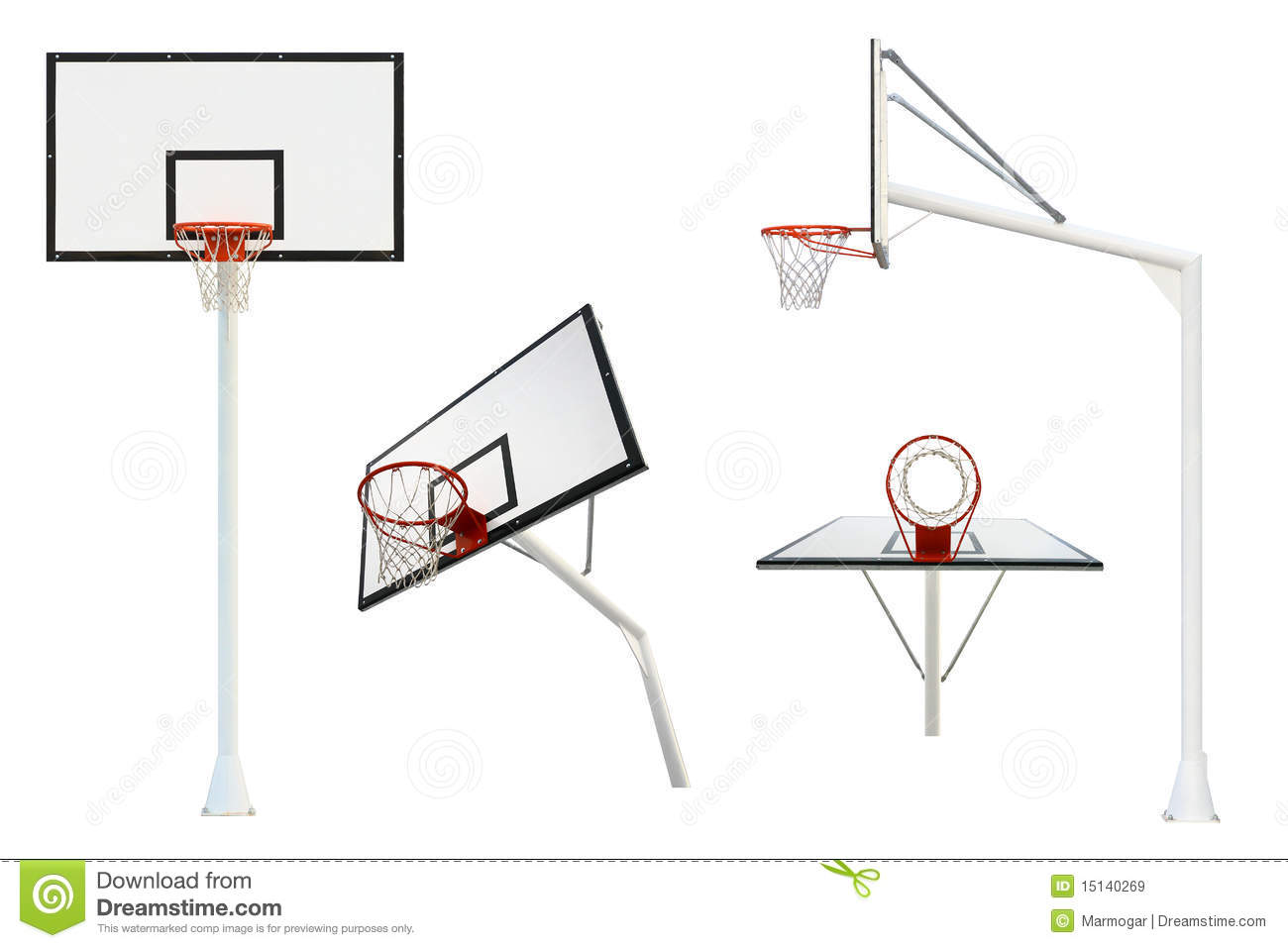 Basketball Goal Isolated From Different Views Royalty Free